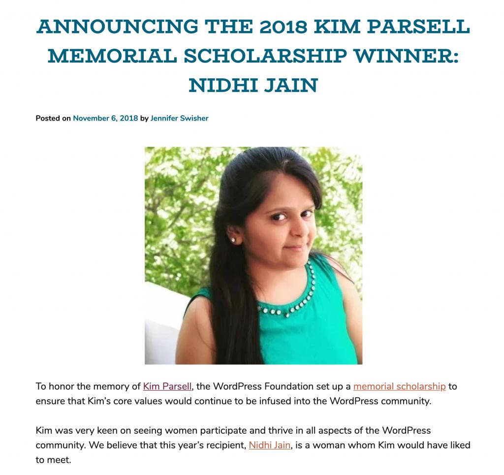 Nidhi Jain - Kim Parsell Scholarship Winner
